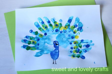 18 - Sweet and Lovely Crafts - Handprint Peacock