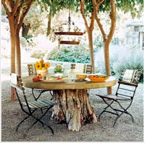 Elegant Outdoor Dining Table Made From Tree Stump