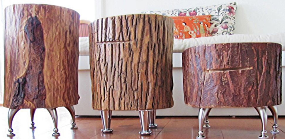 Tree Stump Table With Iron